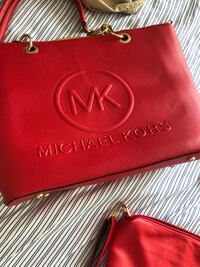 Red michael kors leather purse 3 piece combo  Wilmington, 28403