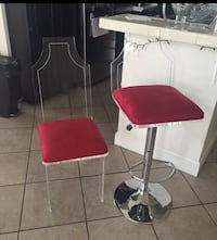 stainless steel base red padded swivel chair Fountain Valley, 92708