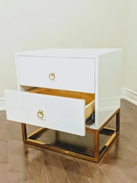 Lacquer White And Gold Legs Nightstand