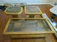 brown wooden glass top coffee table set