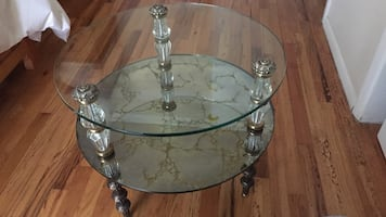 Heavy glass table.  Best Offer!