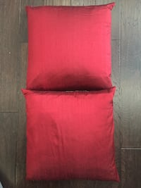 """Two 18"""" x 18"""" Red Silk Decorative Pillows filled with Down Feathers  921 mi"""