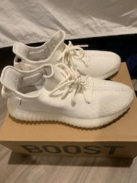 Pair of white adidas yeezy boost 350 on box New Rochelle, 10801