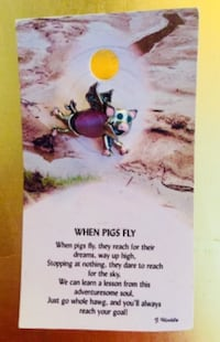 """BRAND NEW """"When Pigs Fly"""" PIN with 3 CRYSTALS and Pink Stone on Gift Card • $4 FIRM! Winnipeg"""