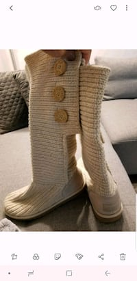 pair of gray-and-white knitted boots Calgary, T3M 0J1