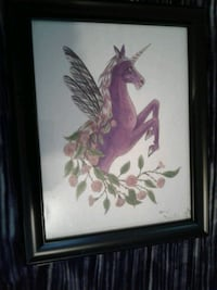Framed purple unicorn artwork Maple Ridge