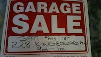 red and white Garage Sale signage Toronto, M4C 5K1