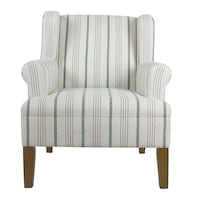 Striped Blue Calypso Poly-Linen Emerson Rolled Arm Accent Chair Richmond Hill, L4B
