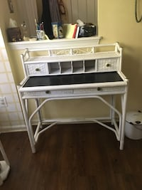 white wooden desk with hutch
