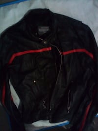 black and red leather zip-up jacket FREDERICTON
