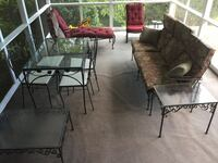 black metal framed glass top table with chairs Bethesda, 20817