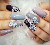 gray and blue manicure Naples, 34117
