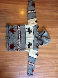 gray and white Canadian design jacket Victoria, V8Z 3B6