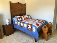 Solid Oak Antique Bed with new double / full mattress  La Habra, 90631