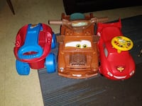 wagon and two ride-on car plastic toys