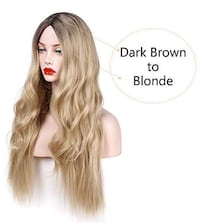 Long Curly Wig Ombre Blonde Wigs 2 Tone Dark Brown Roots with Syntheti Piscataway, 08854