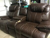 Brown leather sofa recliner Kennesaw, 30144