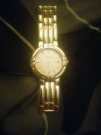 round gold-colored analog watch with link bracelet McKeesport, 15132