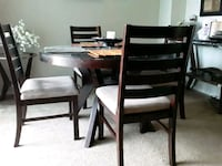 Wooden, glass top, dining set, 4 chairs Cypress