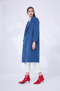 Dezoee Fashion: Women's Aegean Blue Wind Coat, 100% Wool TORONTO