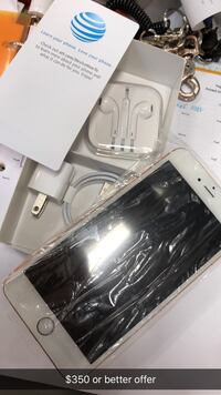 gold iPhone 6 with box, charger and EarPods