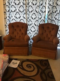 two brown fabric sofa chairs Moline, 61265