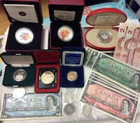 99.99 Pure Silver Coins & Old Paper Bills Collection Sherwood Park