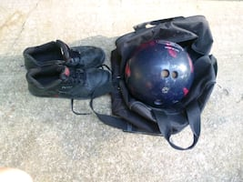 Bowling ball, shoes, and bag