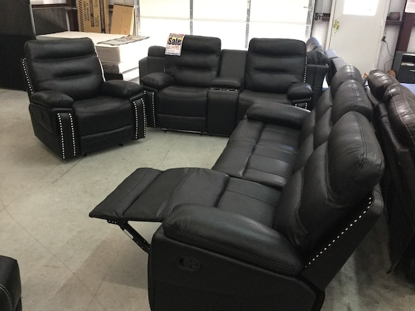 3pc Austin Leather Reclining Sofa Set with Nailhead design