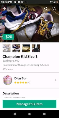Champion Kids Shoes size 1Youth Baltimore, 21223