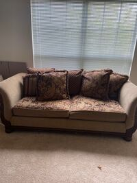 Couch with Pillows--Wood Framed Design