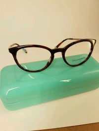 black framed eyeglasses with green case 503 km