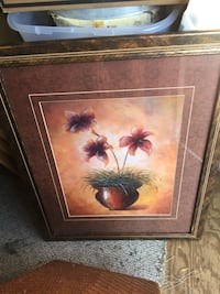 brown wooden framed painting of flowers Melbourne, 32935