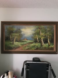 brown and beige shade on green grass field near trees painting