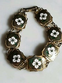 Vintage Bracelet, costume jewelry, gold tone, painted flower, clasp
