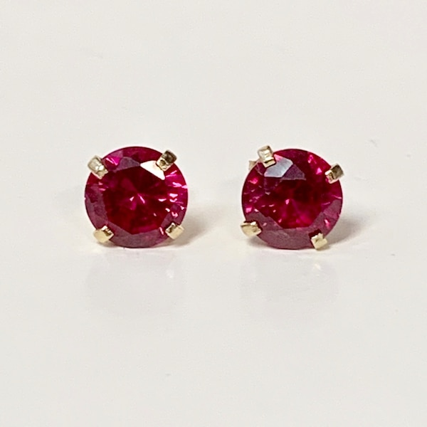 Genuine 14k Yellow Gold Ruby Stud Earrings ffd88fb2-6f74-42de-9cb9-a40e8a67a392