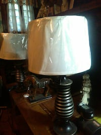 two brown wooden based drum lampshades 373 mi