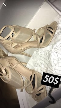 pair of brown leather open-toe wedge sandals 542 km