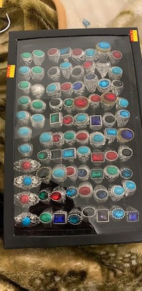 assorted color gemstone embellished silver ring lot Falls Church, 22043