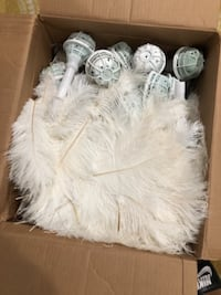 White Ostrich feathers BOWIE