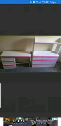 pink and white wooden bunk bed 180$ Edmonton, T5E 1C3