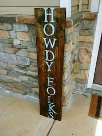 "Welcome ""Howdy Folks"" Blue Wooden Plank Home Sign Charlotte, 28205"