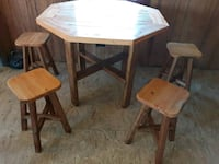 Hand crafted table and chairs