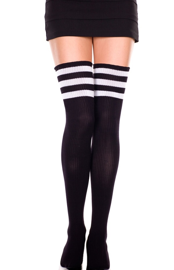 05c4dc06ffd Used American apparel black thigh high socks with 3 white stripes ...
