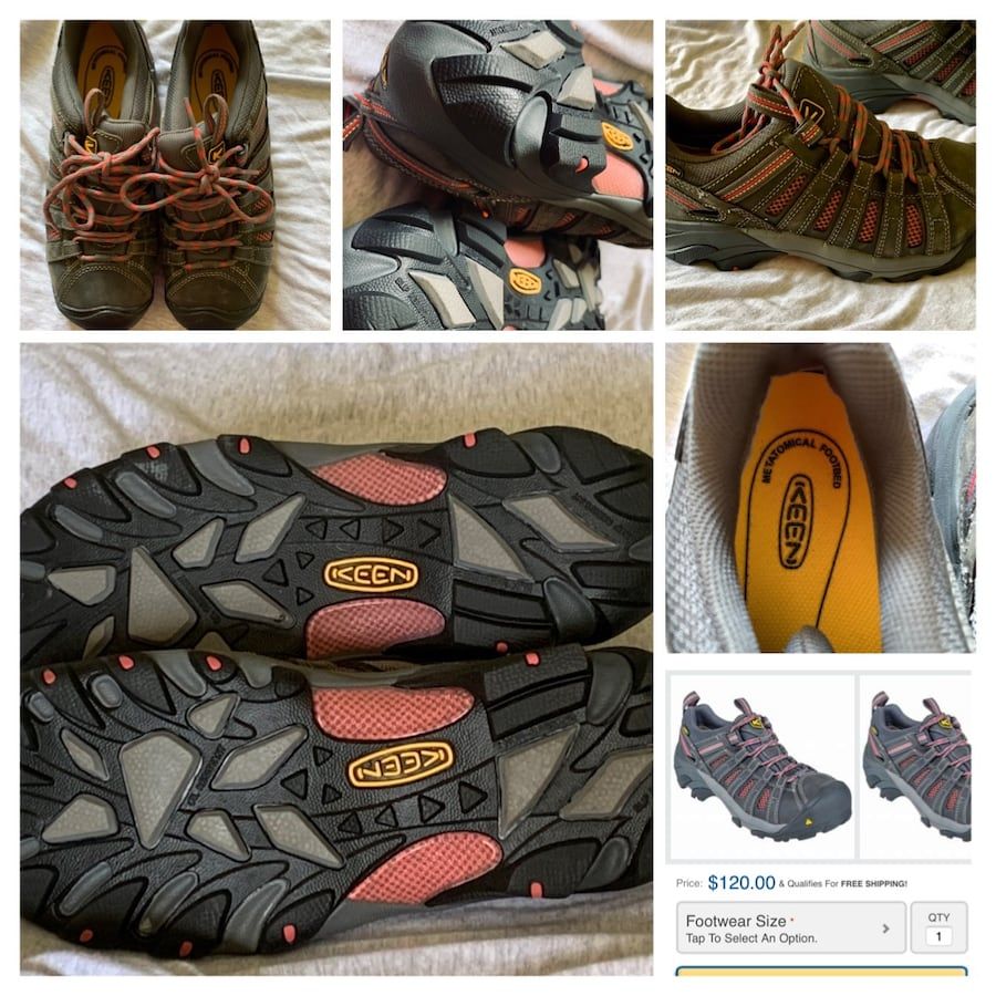 Keen steel toe shoes pink accent size 9