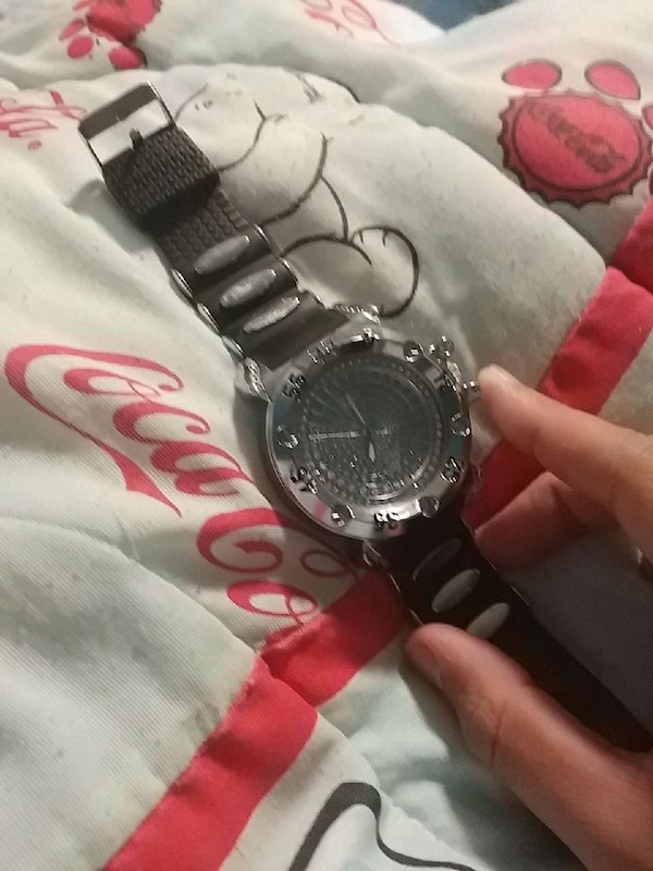 Stainless steel techno pave watch