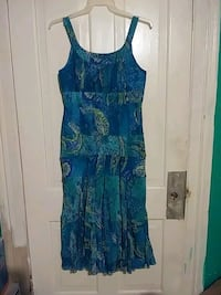 blue and green floral sleeveless dress Augusta, 30904