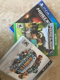 Three assorted ps4, ps3 and xbox one game cases