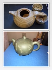 Two Genuine Yixing Chinese Clay Teapots w/ 2 tea cups Frederick