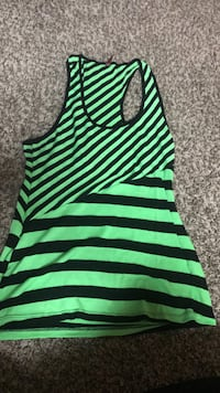 green and black striped racerback tank top